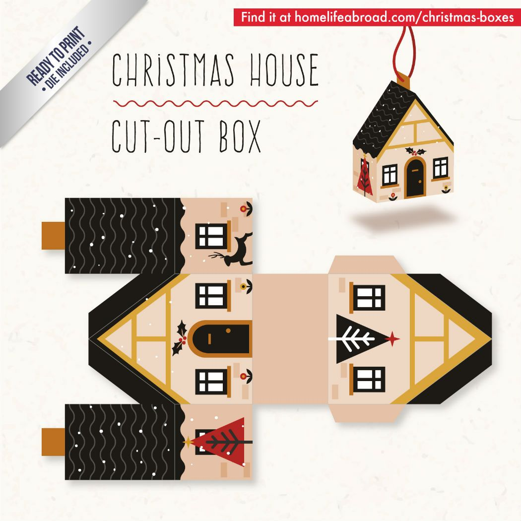 christmas house cut out box with ready to print templates check out all the boxes download at homelifeabroadcom christmasgifts christmasboxes