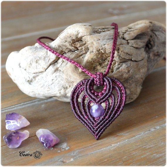 Necklace pendant Amethyst long • MicroMacrame • Necklace • macramé • Cesira... •••ref.a1005•••