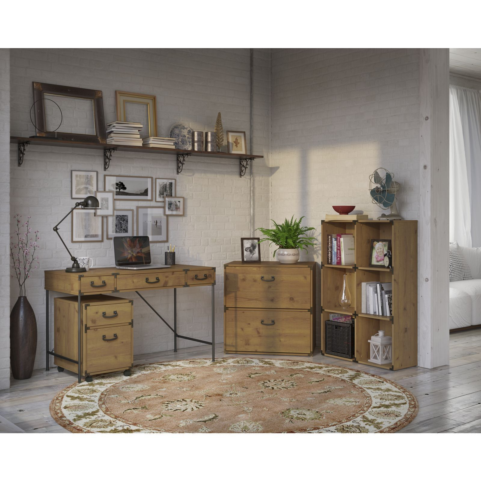 kathy ireland by bush ironworks 48w writing desk 2drawer mobile pedestal 6cube bookcase and lateral file cabinet 48w desk 2 dwr ped 6 cube bookcase