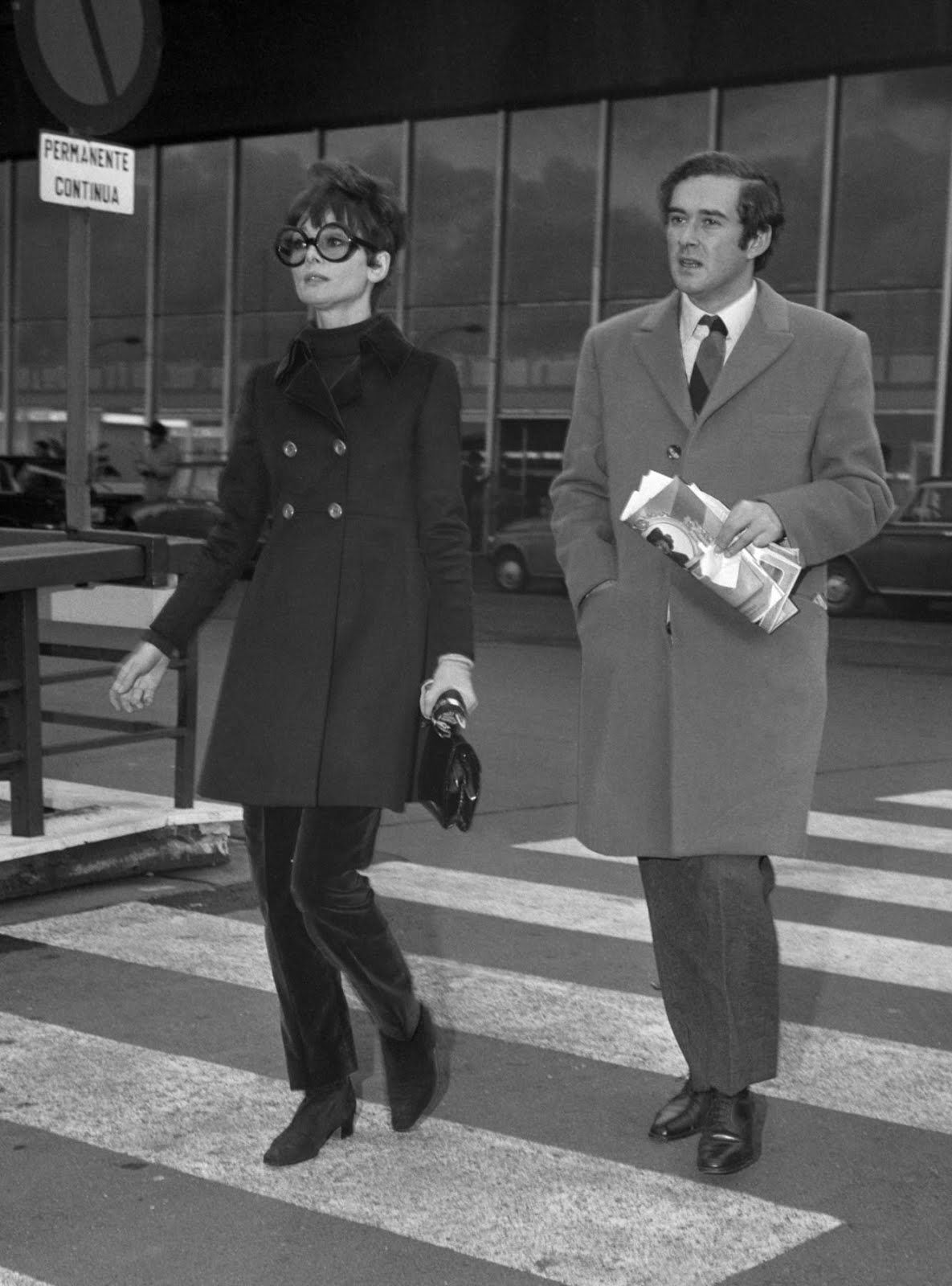 Audrey and husband Dr. Andrea Dotti at the airport awaiting the arrival of their friend Capucine. Rome, Italy, February 14, 1969.