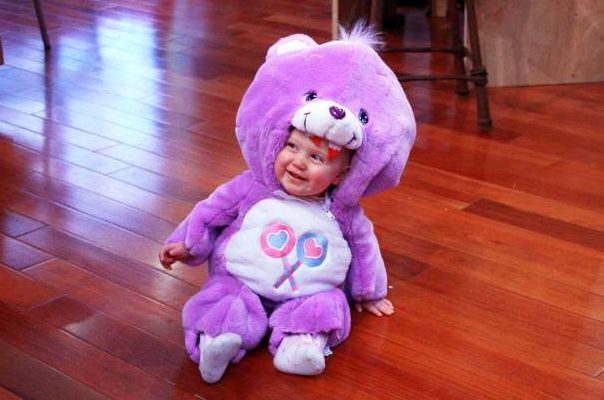 Baby Care Bear Costume #carebearcostume DIY Baby Care Bear Costume - What do you do with a baby-sized Care Bear? You skin it and make a baby-sized Care Bear Skin Coat, obviously! #carebearcostume