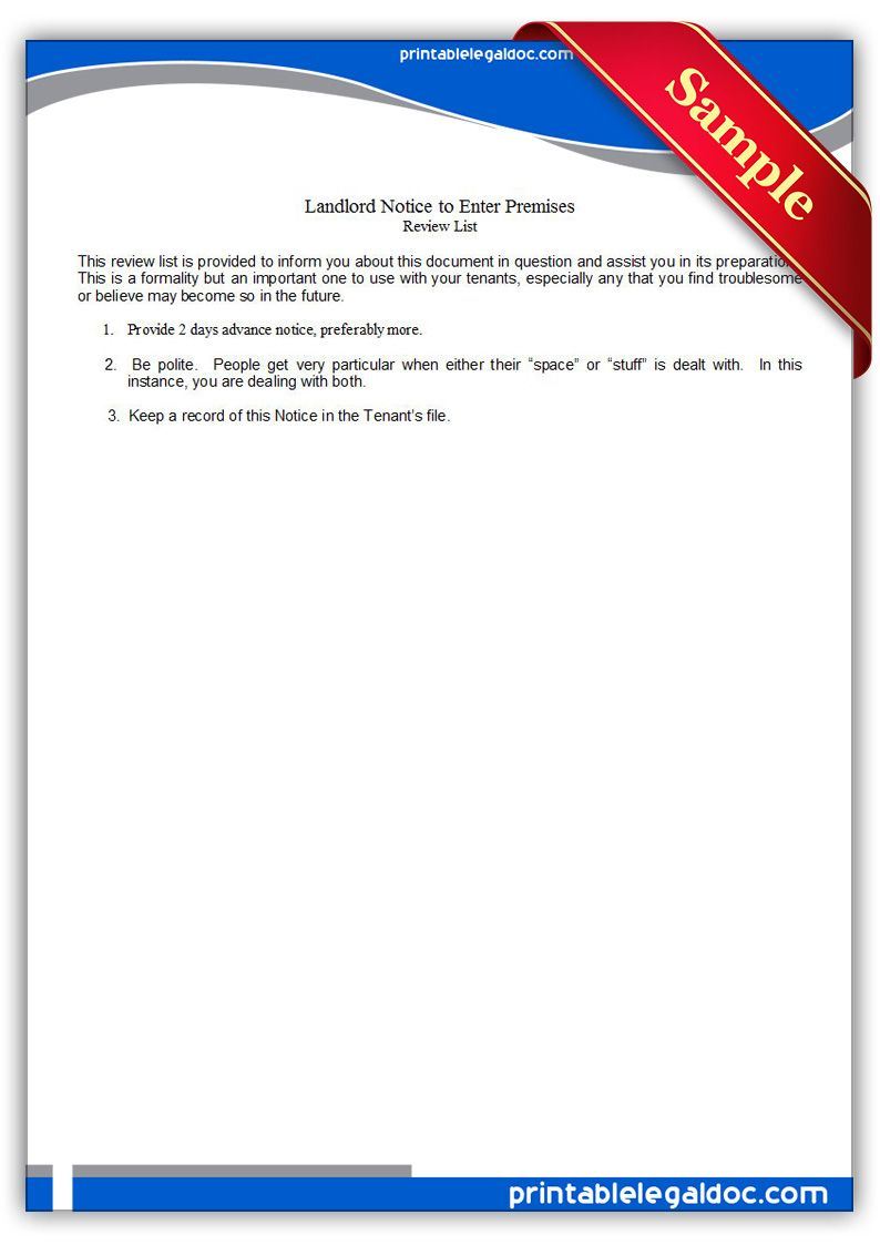 Free Printable Landlord Notice To Enter Premises Legal Forms  Free