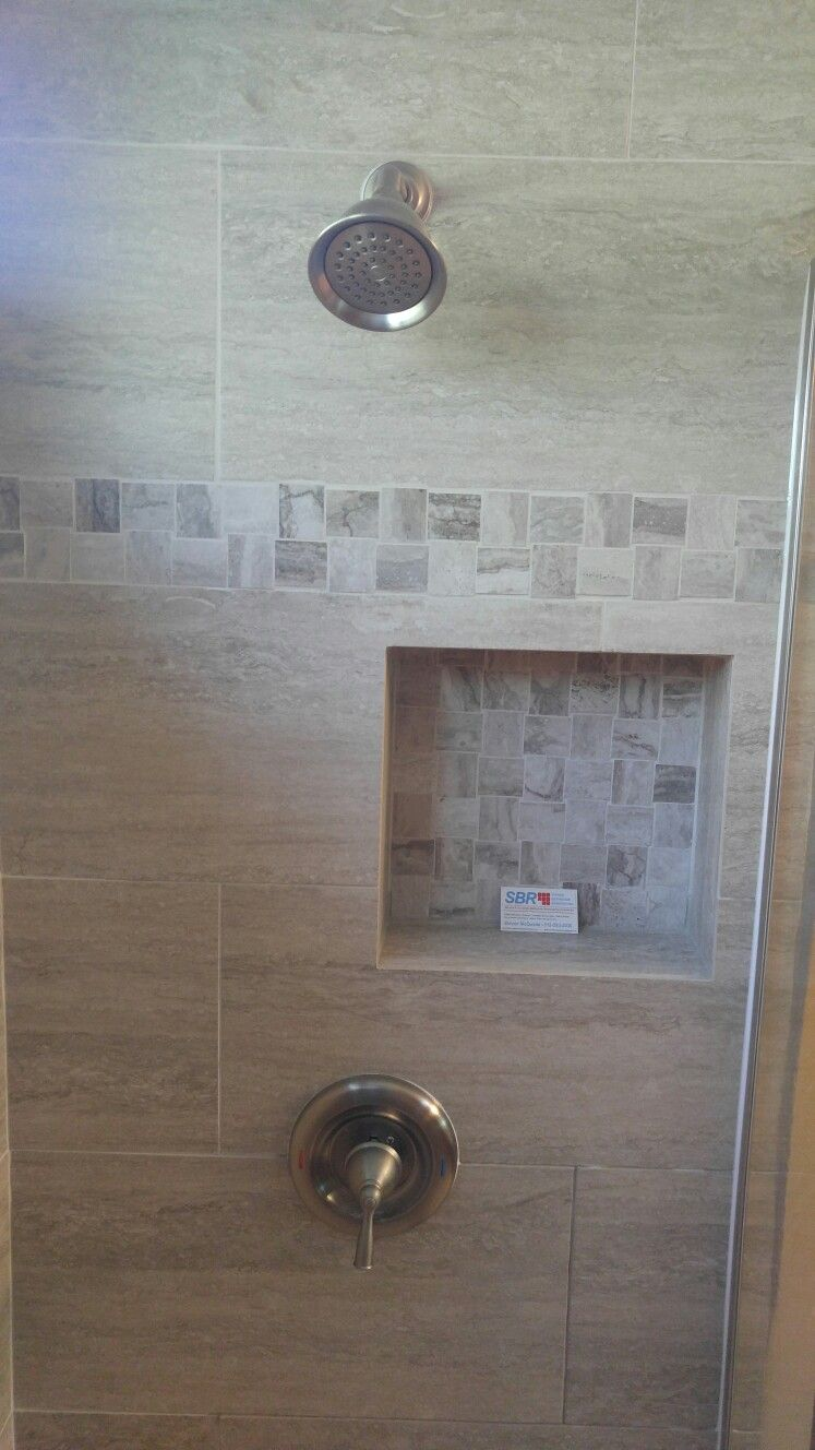 The Shower Features 3 8 Inch Frameless Shower Glass 12 By 24 Inch Porcelain Tile The Mosaic Tile That We Put On The Shower Tile Glass Shower Frameless Shower