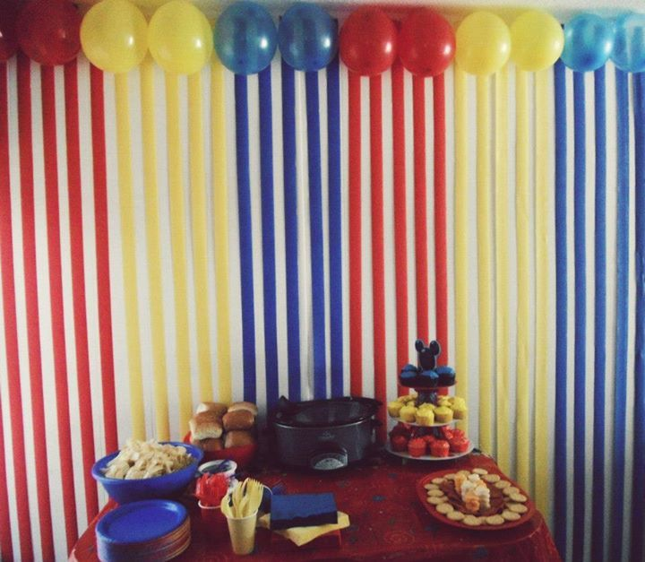 First Birthday Mickey Mouse Club House Decor Just Covered The Whole Wall In Lines Using Streamers And Put Balloons Along Top Loved It