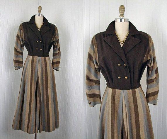1940s Dress  Vintage 40s Dress Chocolate Brown by jumblelaya, $98.00