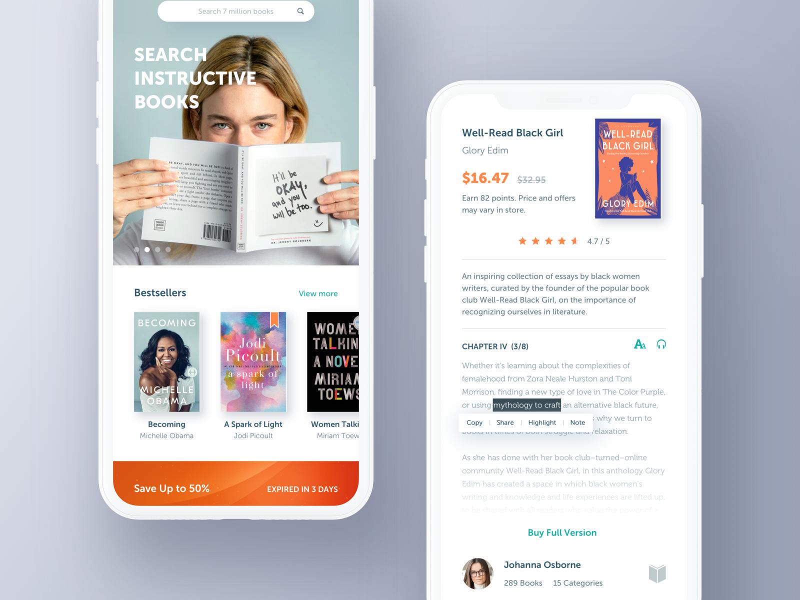 Bookstore App. Interactive design, App design, Mobile