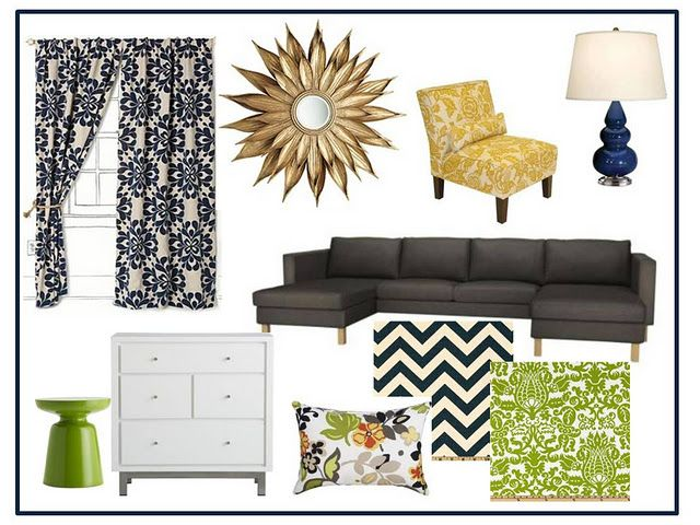 Navy blue, dark grey, lime green living room ideas