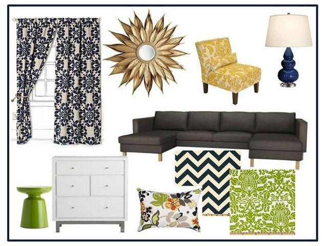 navy blue, dark grey, lime green living room ideas | ideas