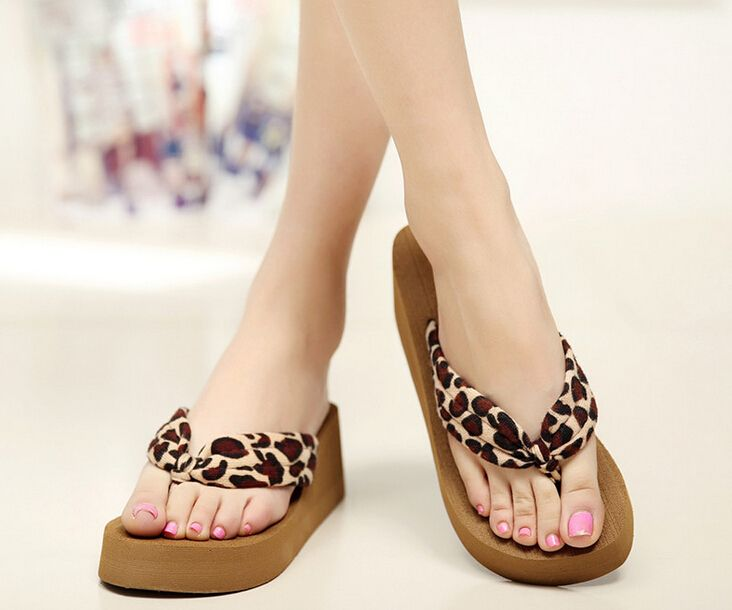 Us 4 8 Summer Women Platform Sandal Wedge Flip Flops Leopard Feminino High Heel Slippers Sandalias Mujer Plataforma Chanclas Leopard Wedge Flip Flops High Hee Women Platform Sandals High Heel Slippers Wedge Flip Flops