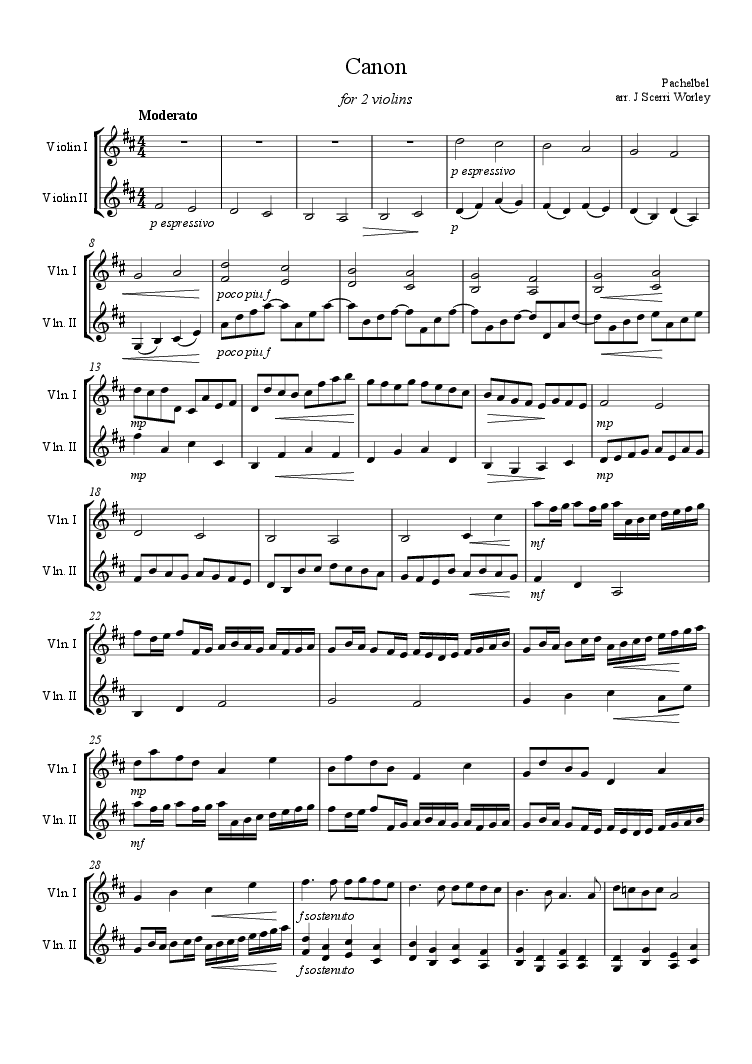 violin duet - canon in d (for 2 violins) - download sheet music pdf   sheet  music, print sheet music, violin sheet music  pinterest