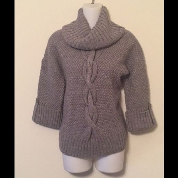 Cuffed Sweaters: Gray Big Collar Cable Knit Cuffed Sleeve Sweater No Tag