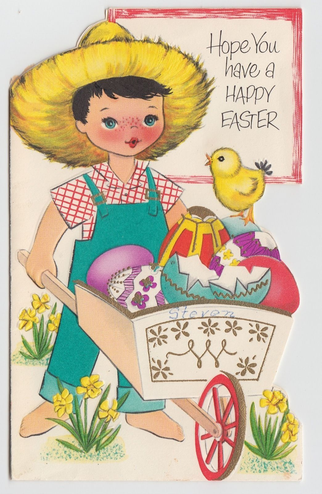 Vintage Greeting Card Easter Little Farm Boy Wheelbarrow Cute 1950s