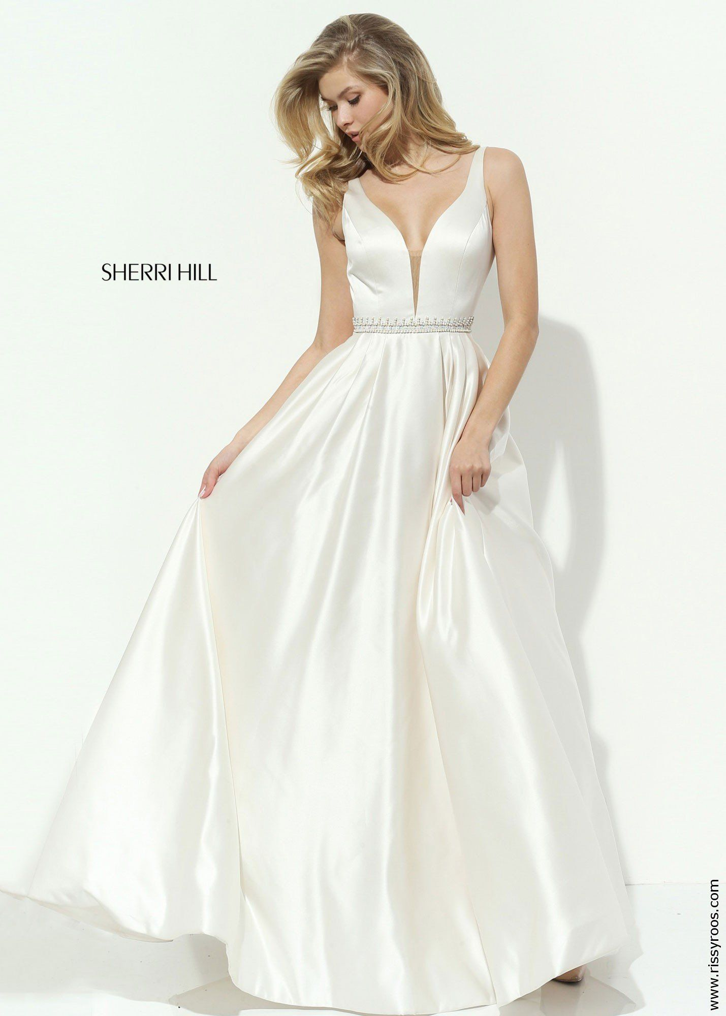 Sherri hill aline satin ball gown in prom dresses