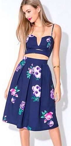 Navy Blue Purple Pink Green Floral Spaghetti Strap V Neck Cut Out Crop Tank High Waist Pleated A Line Flare Midi Skirt Two Piece Dress