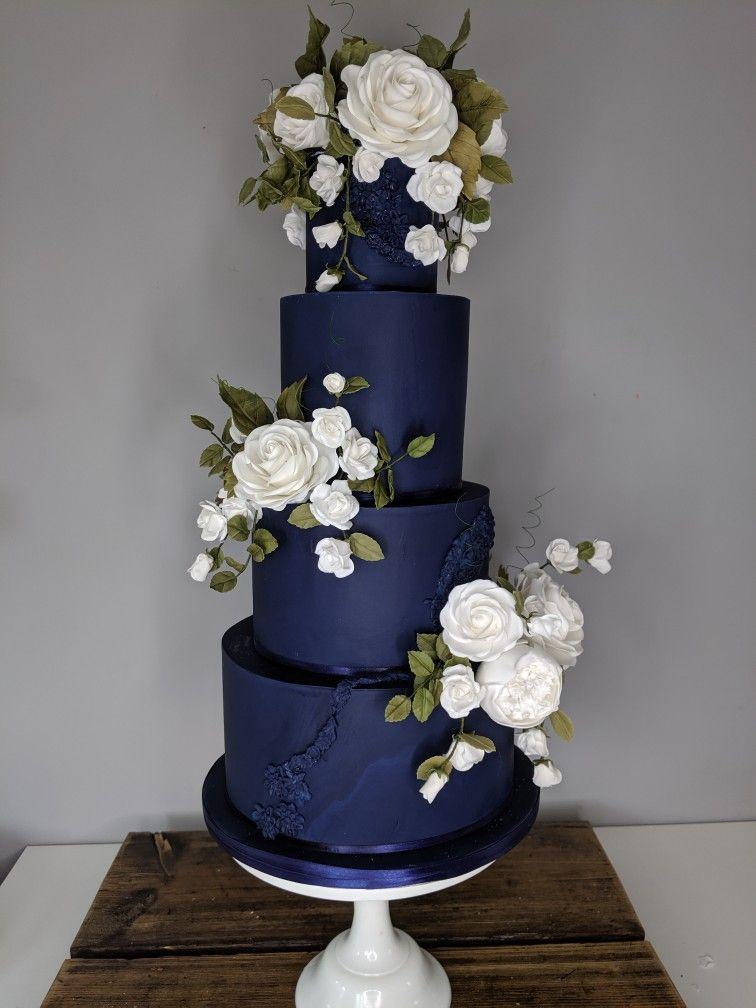 Wedding Cake Navy Blue Wedding Cakes Wedding Cake Navy Floral Wedding Cakes