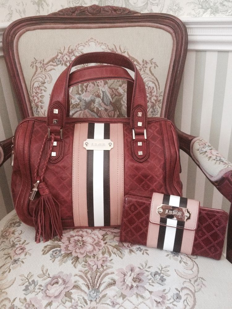 f3bf00654b2 L A M B Gwen Stefani Satchel and Clutch Wallet Set Berry Fadeout ...