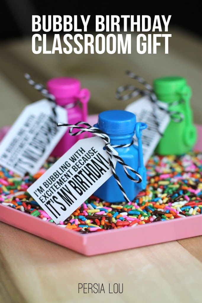 Classroom Birthday Party Ideas ~ Bubbly birthday classroom gifts with free printable and