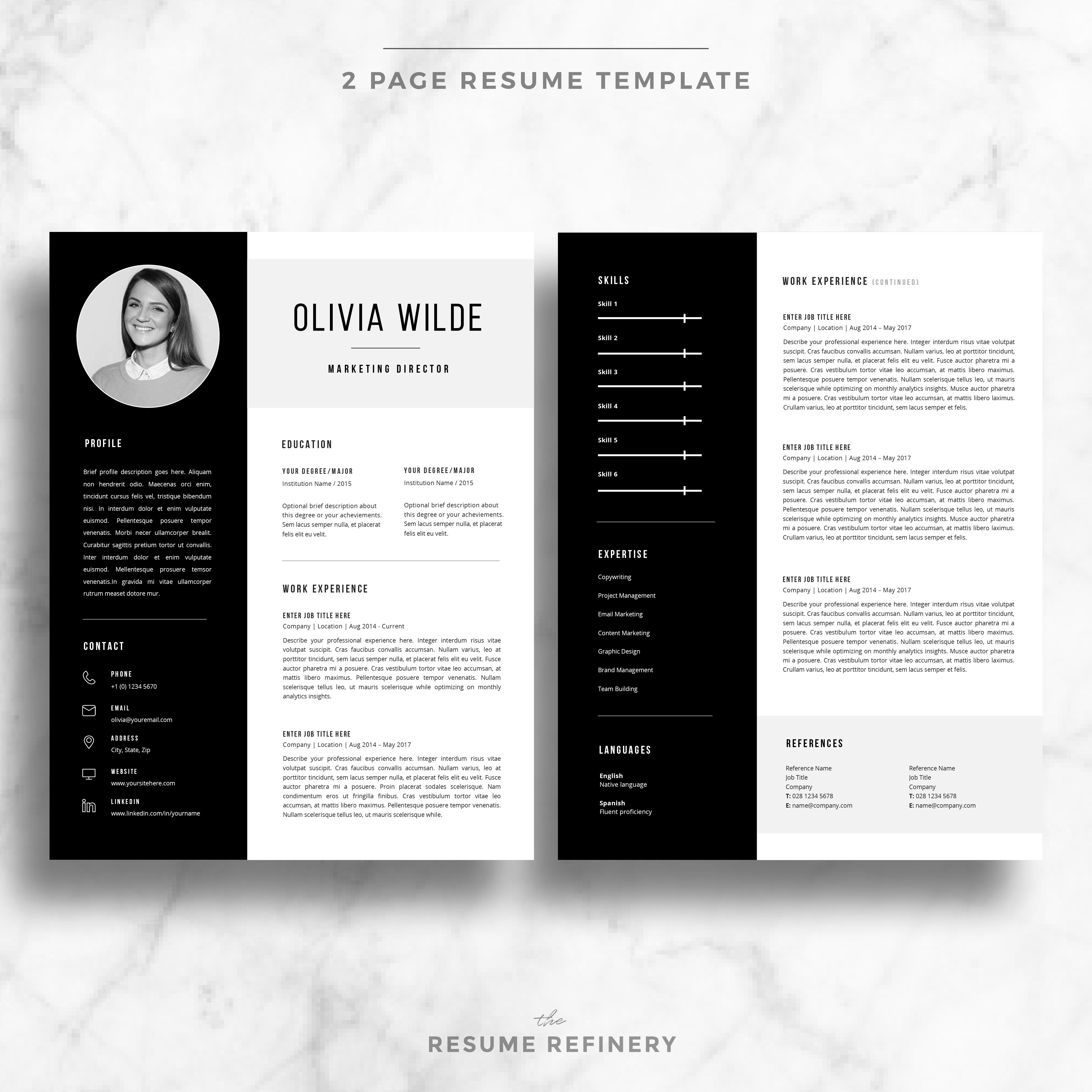 Modern 2 Page Resume Cover Letter Template For Word Bonus