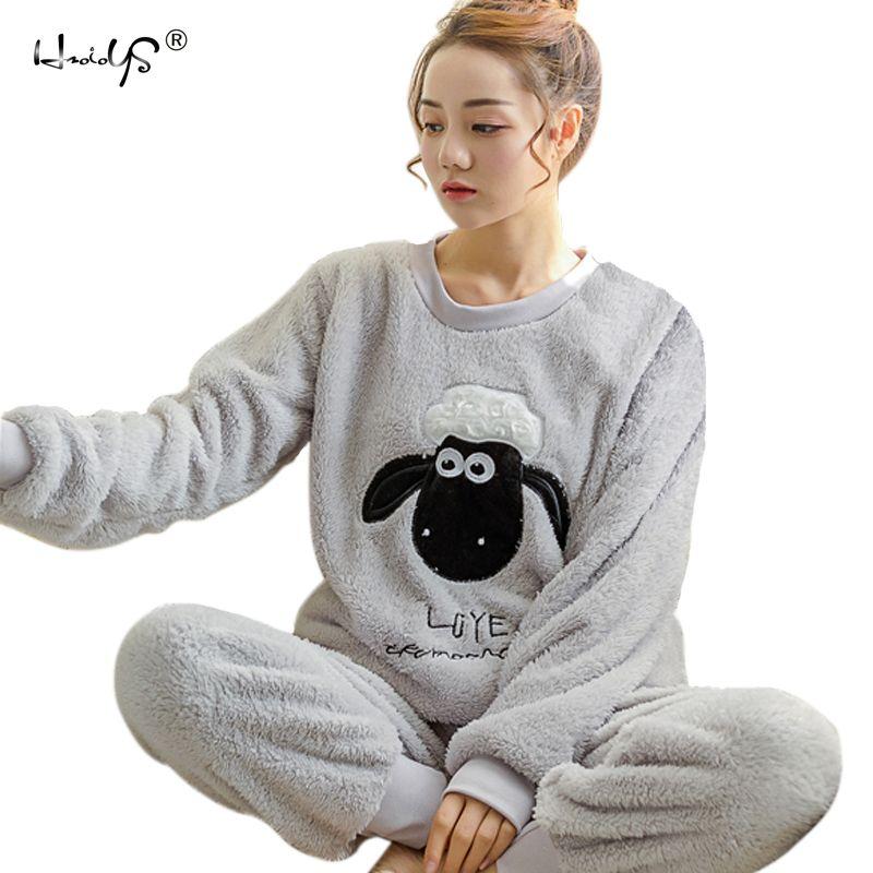 e57f3e73e9 Autumn Winter Women Pyjamas Sets pajamas Sleepwear Suit Thick Warm Coral  Flannel nightgown Female Cartoon Animal
