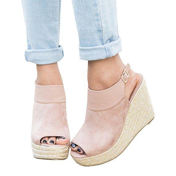 Syktkmx Womens Espadrille Platform Wedge Peep Toe Ankle Strap Mid Heel  Suede Sandals |Summer Sandals