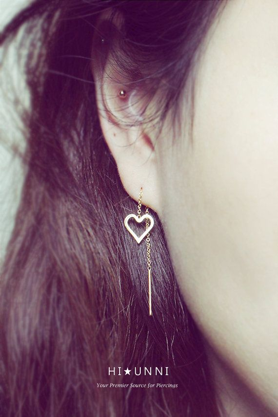 18g Chained Heart Long Post Earrings Threader Earrings By Hiunni