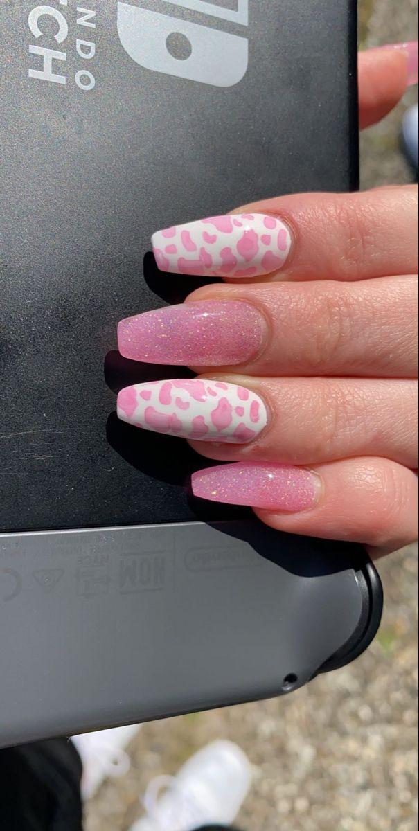 exotic cow-print nails