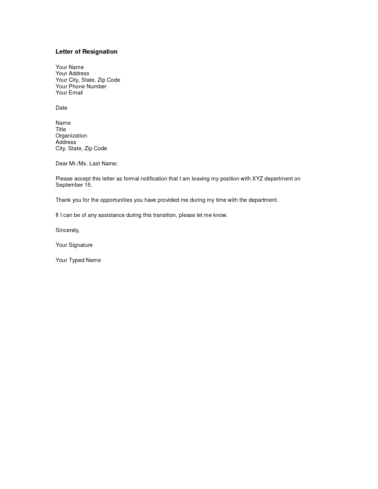 Printable Sample Letter of Resignation Form – Sample of Letter Resignation