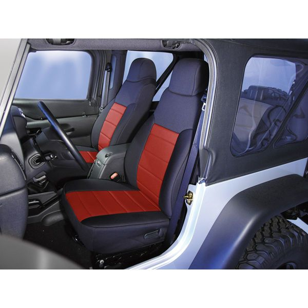 Details About 2003 2006 Jeep Tj Wrangler Black Red Neoprene Front