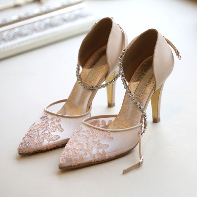 Chic Beautiful Pearl Pink See Through Wedding Shoes 2019 Leather Rhinestone Ankle Strap 8 Cm Stiletto Heels Pointed Toe Wedding High Heels Stiletto Heels Bride Shoes Pumps Heels Stilettos