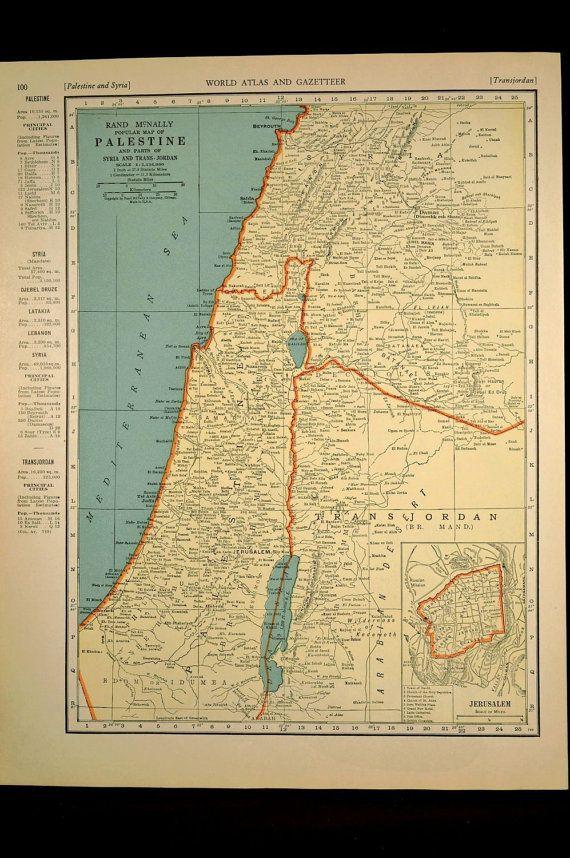 Jerusalem Map Palestine Israel Holy Land 1930s Original 1935