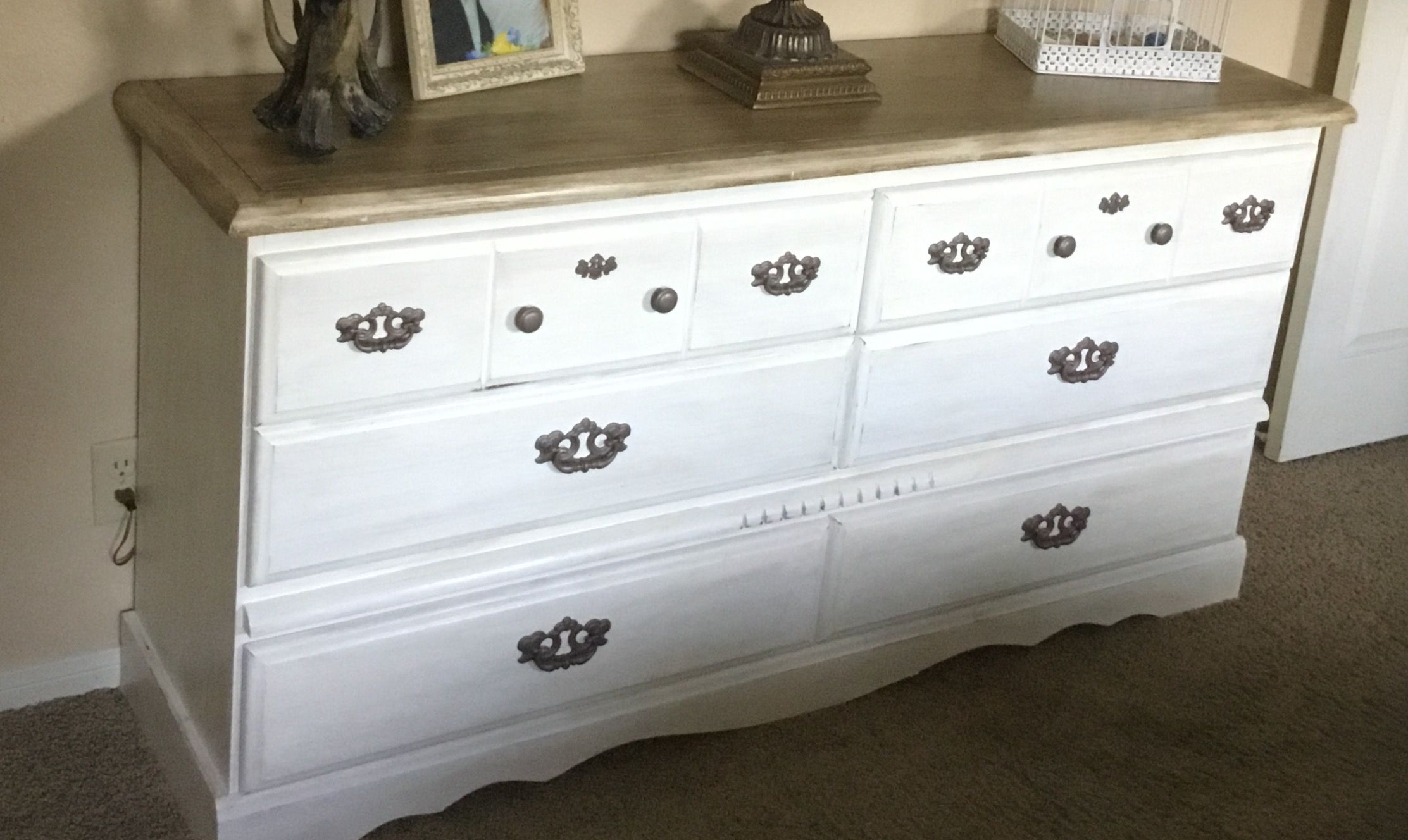Chalk paint and glaze dresser makeover farmhouse style completed