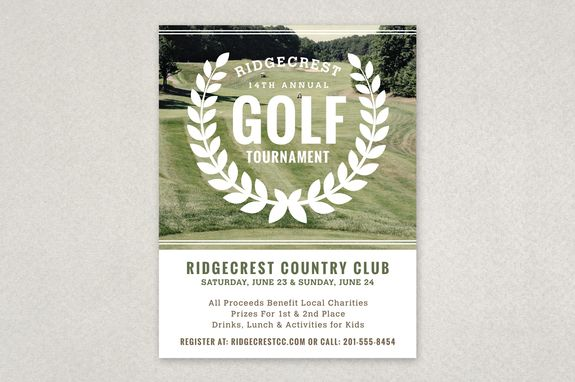 Golf Tournament Vintage Flyer Template  The GolfThemed Imagery