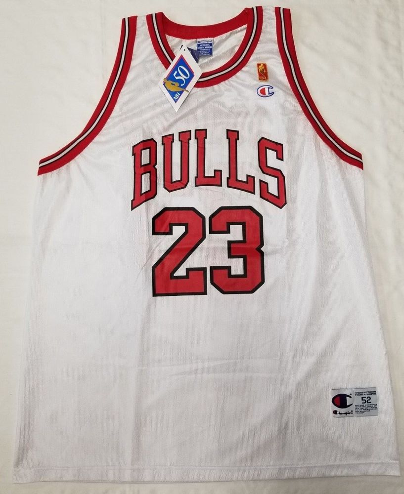 c8d99d710f2 Chicago Bulls Michael Jordan Champion NBA Jersey men size 52 2XL 50th Ann.   MichaelJordan