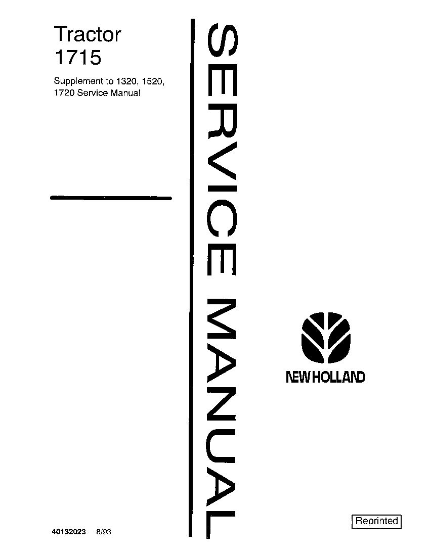New Holland 1715 Tractors Workshop Repair Service Manual