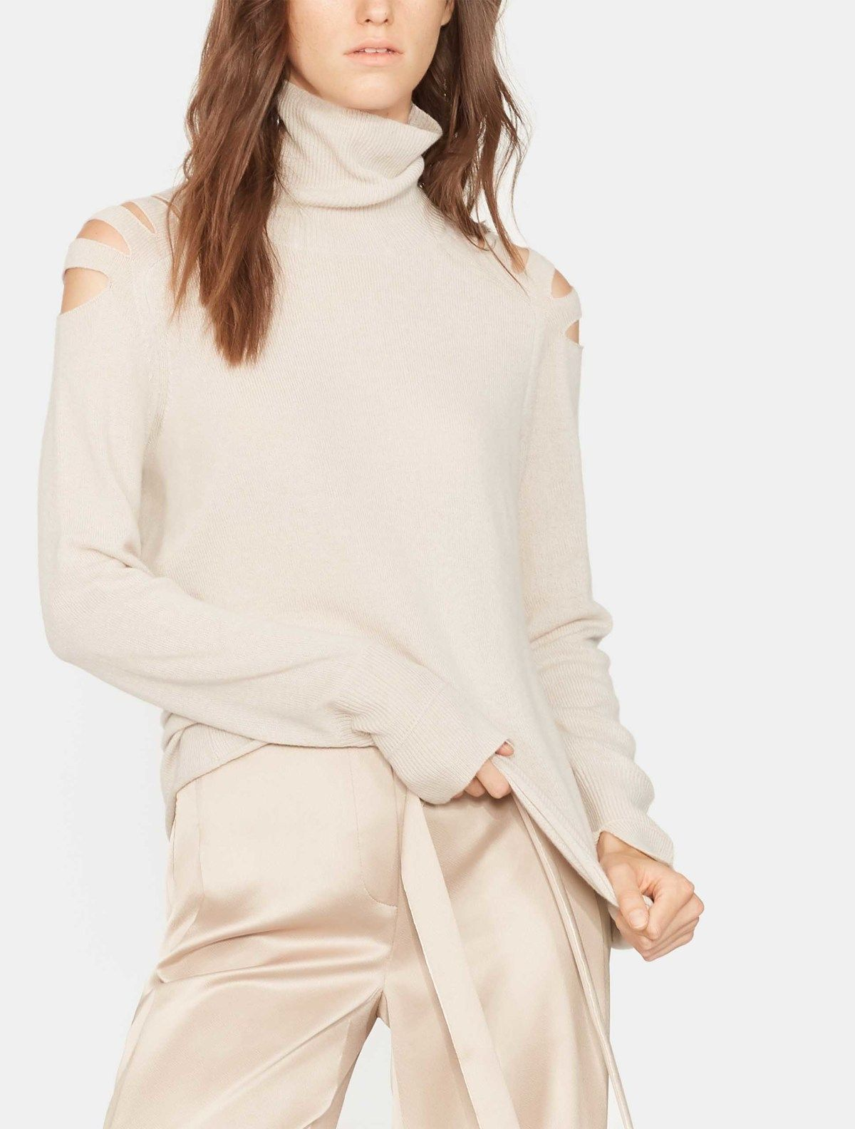c8adba55a8f Turtleneck Sweater with Cut Outs in Beige