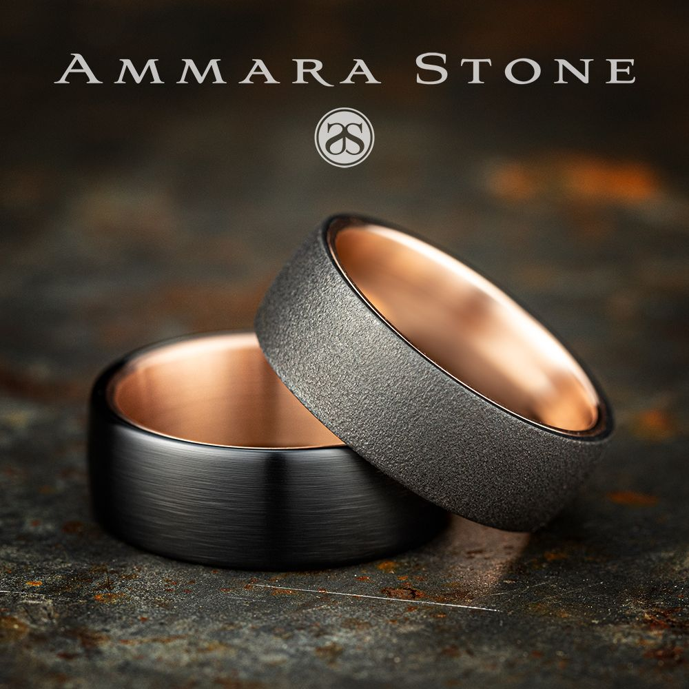 8mm Men S Black Titanium Wedding Ring With A Satin Finish And A Rose Gold Center Rirc Black Wedding Rings Mens Rose Gold Wedding Ring Mens Wedding Rings Gold