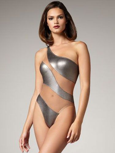 c01db16c43a45 Silver Monokini Swimsuit Mesh One Shoulder Sleeveless Semi Sheer Sexy One  Piece Bathing Suit