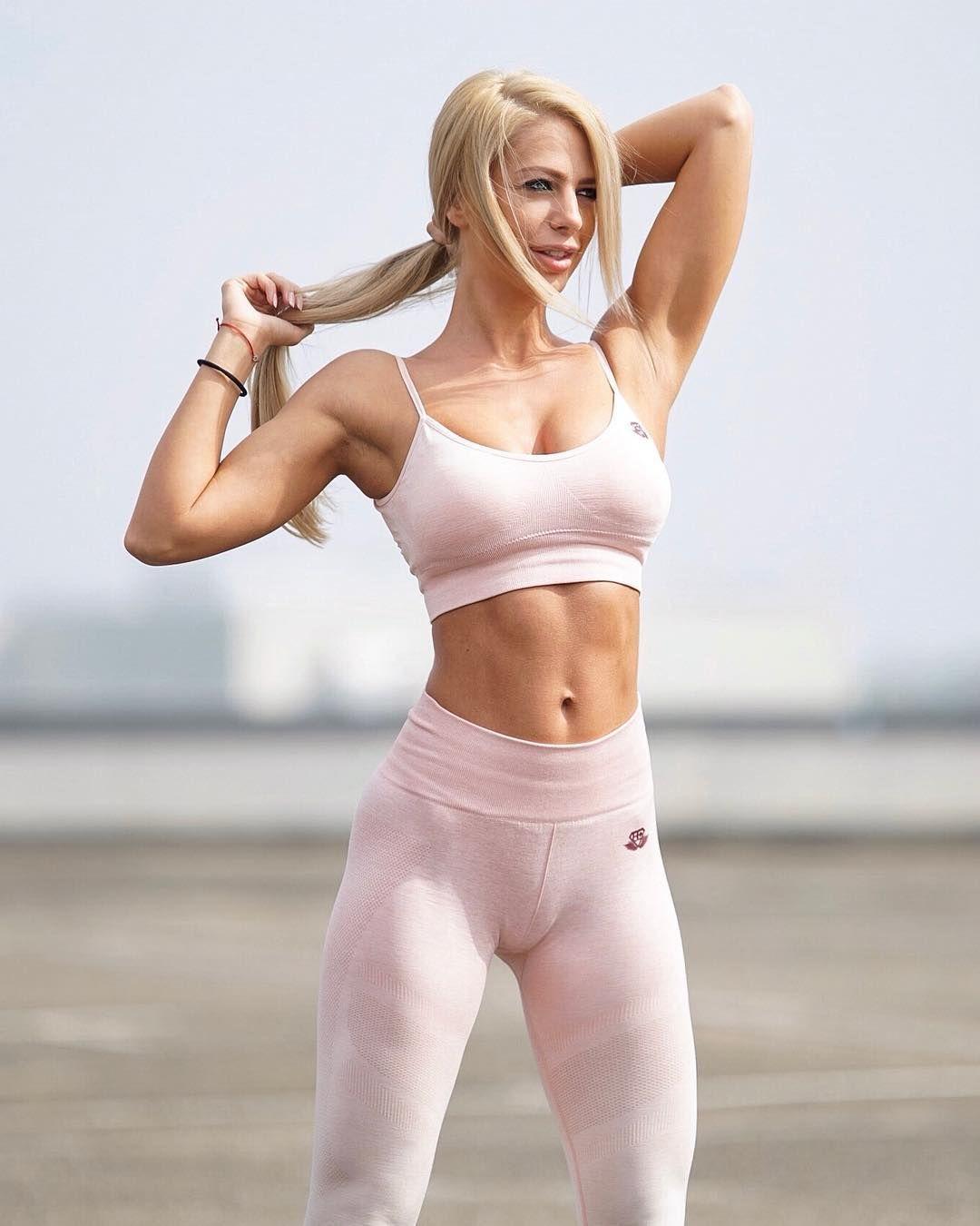 Girl in gym yoga pants naked