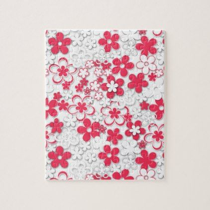 Red And White Paper Flowers Jigsaw Puzzle  White Paper And Flowers