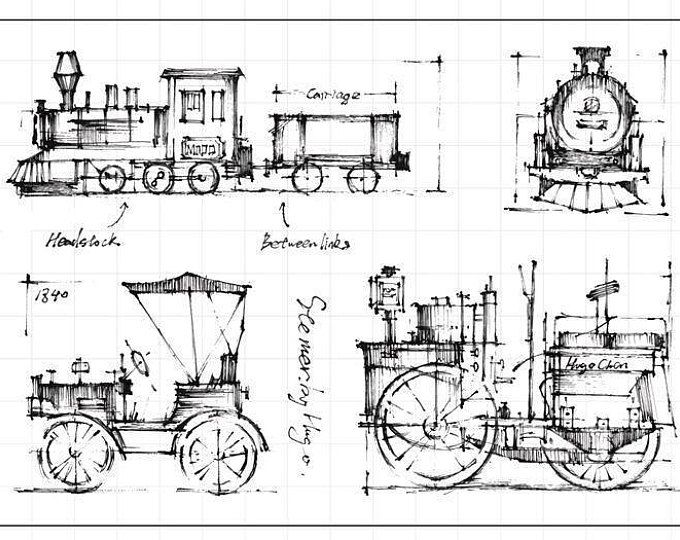 Trains Clear Rubber Stamp Set W Steam Engine Car Vehicle Coal