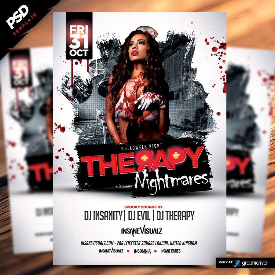 Therapy Nightmares Halloween Flyer is a premiumPSD flyer template designed by Dope Downloads, this sexy classic nurse flyer is perfect any halloween party.