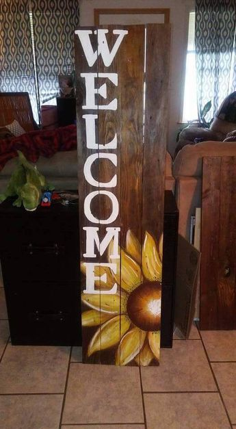 Sunflower Welcome Sign Pallet projects Pinterest Wood signs