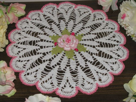 15 crochet doily with flower