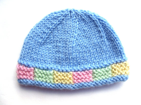 Instant Download Pattern Knit Preemie Hat With Colorful Garter