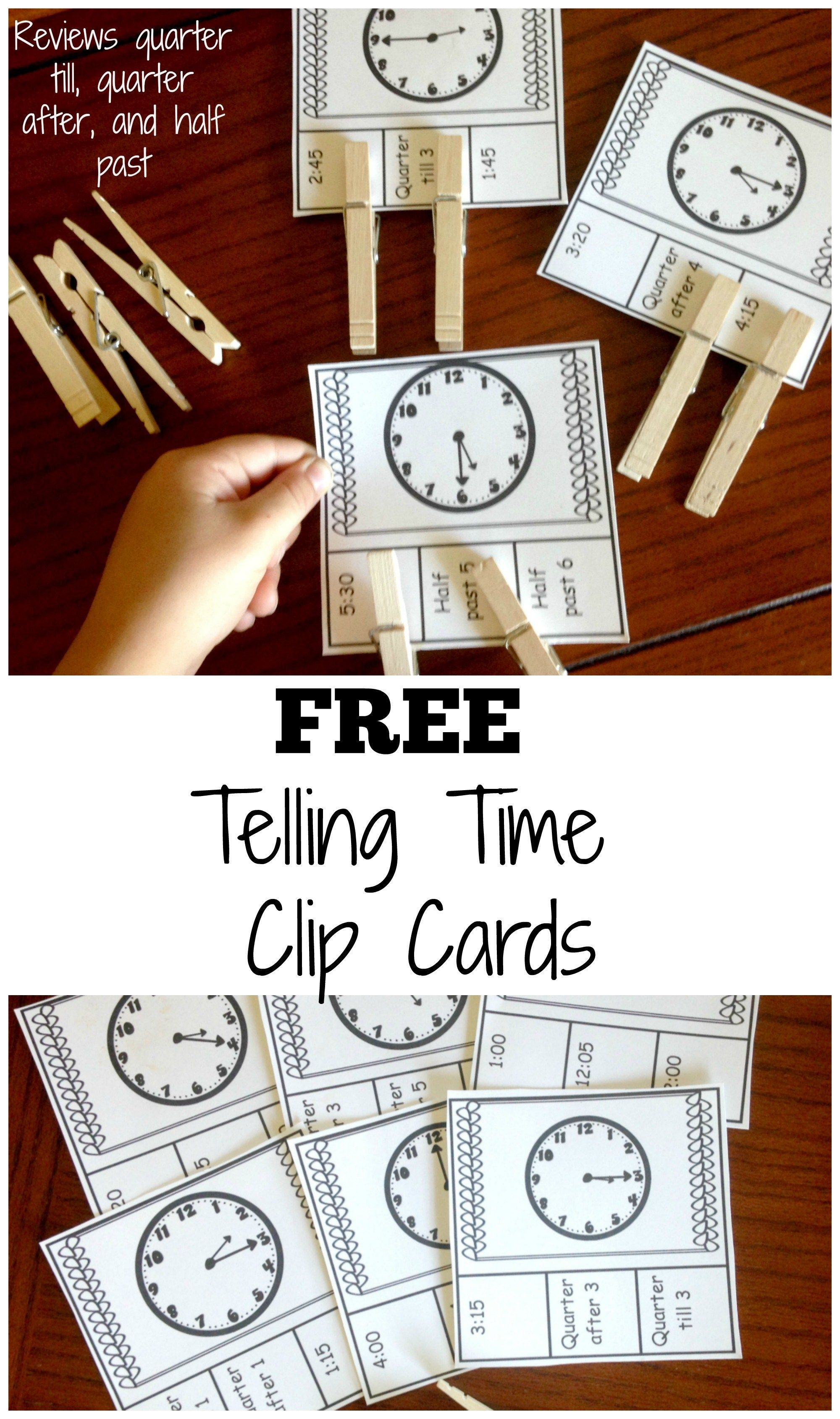 20 Telling Time Clip Cards For Clock Learning For Kids Clock