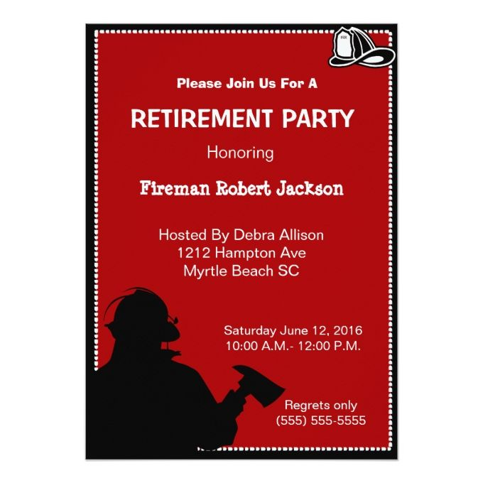 Fireman Fire Chief Retirement Invitation Dads Fire Retirement - retirement party flyer template