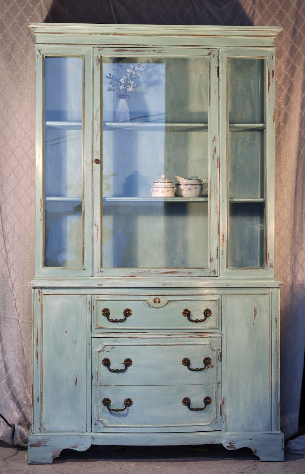 Redemption Refinishing Duck Egg and Old White China hutch. Wonder if ...