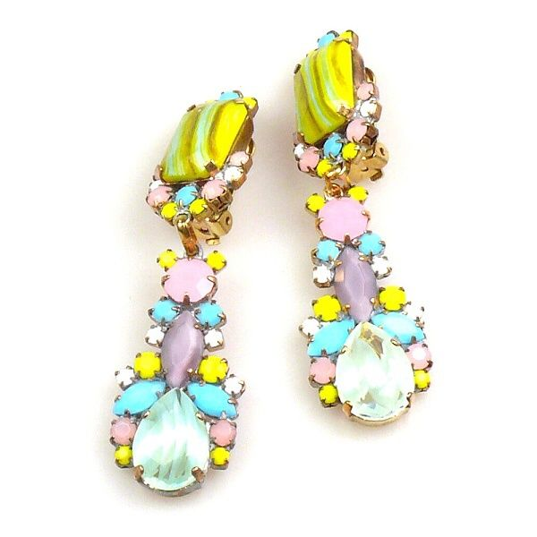 """Opaque rhinestone earrings with clips, length 3.00"""", designed with hand made extraordinary pastel color stones . Price: $24.90"""