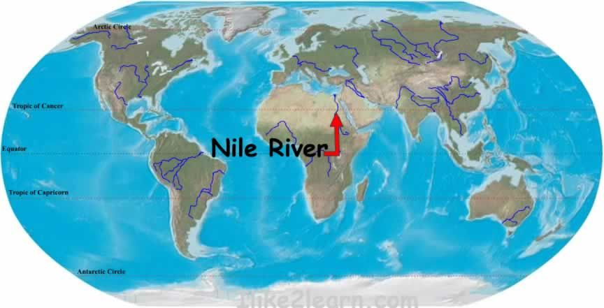 Nile River Map | Tigris River On World Map | egypt | Pinterest
