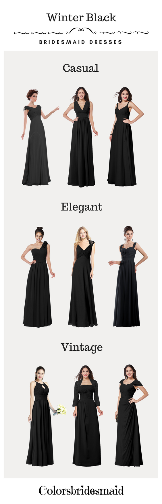 Is a black dress ok to wear to a wedding  These black bridesmaid dresses are very suitable for winter weddings